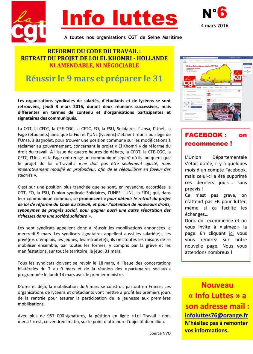 Une Info Luttes N 6 2016 Cgt 76
